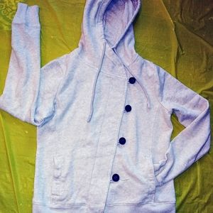 Hollister Soft Beige Button Down Hooded Jacket